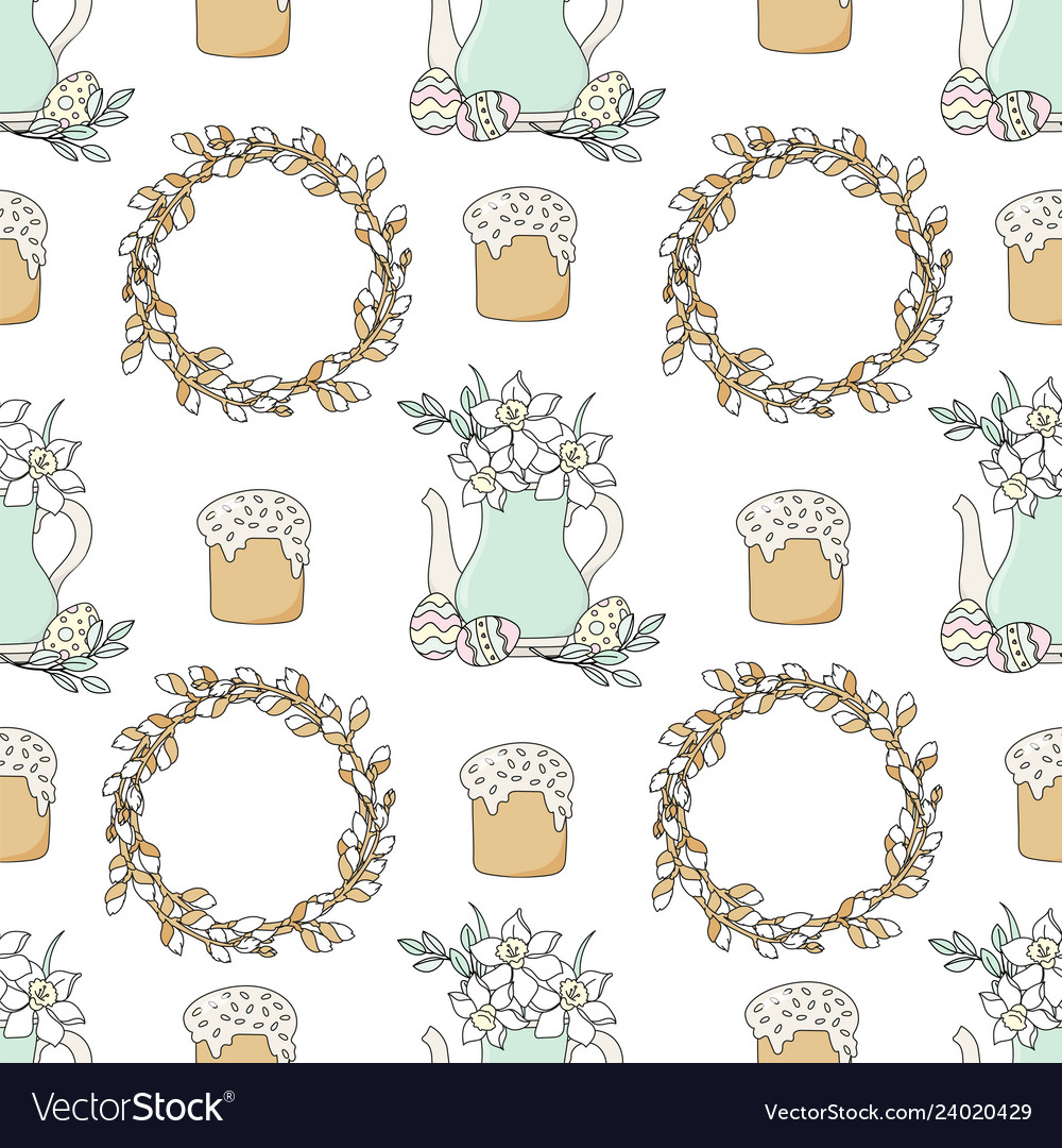 Narcissus easter holiday seamless pattern