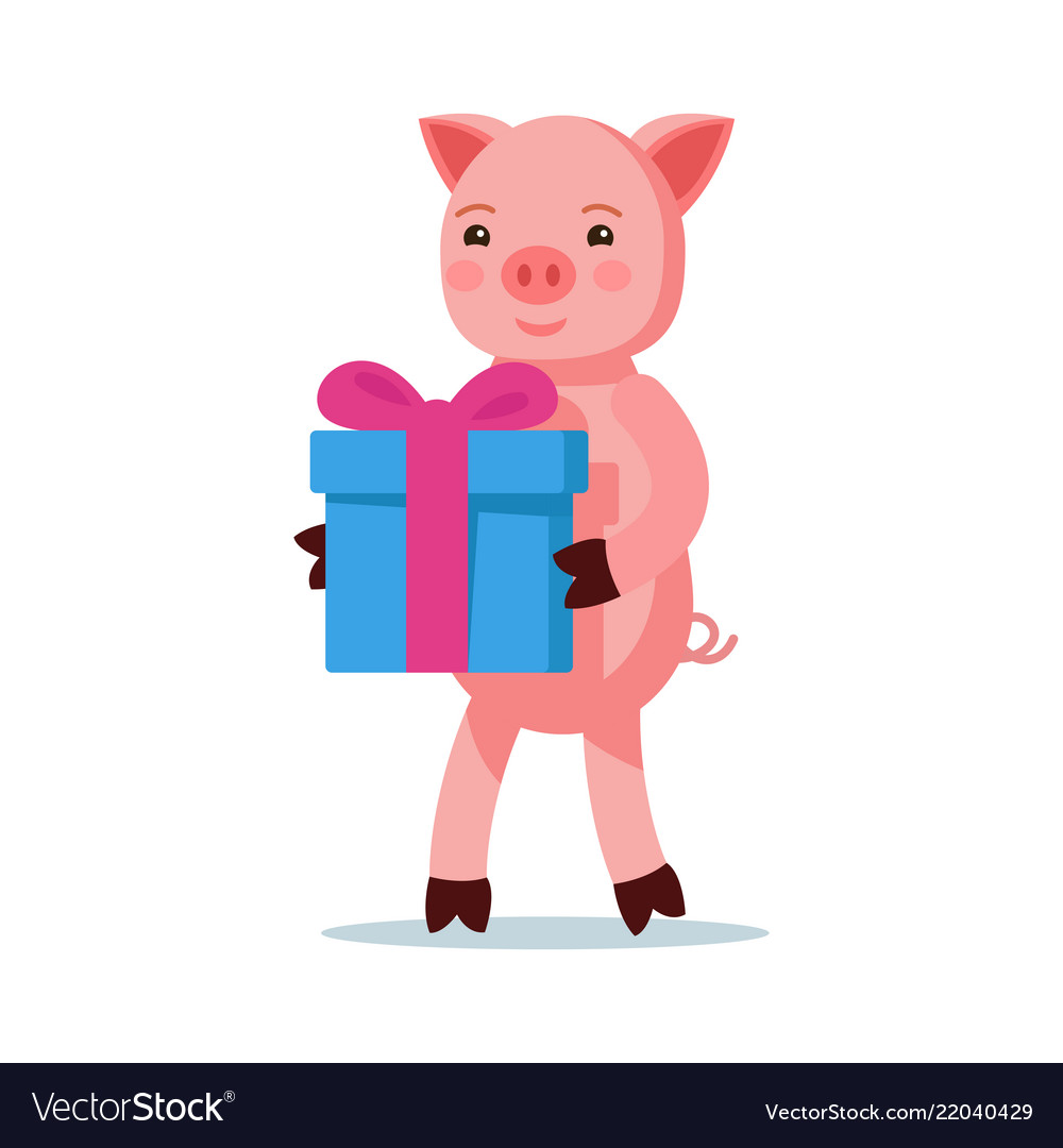 Pink cartoon piglet coming with a gift