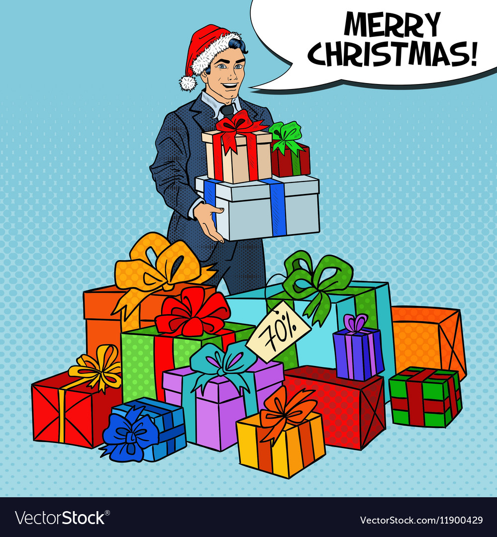 Pop Art Man in Santa Hat with Gifts Christmas Sale