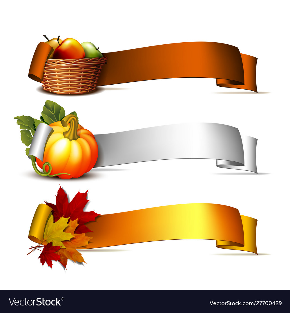 Ribbon with orange pumpkins autumnal leaves and