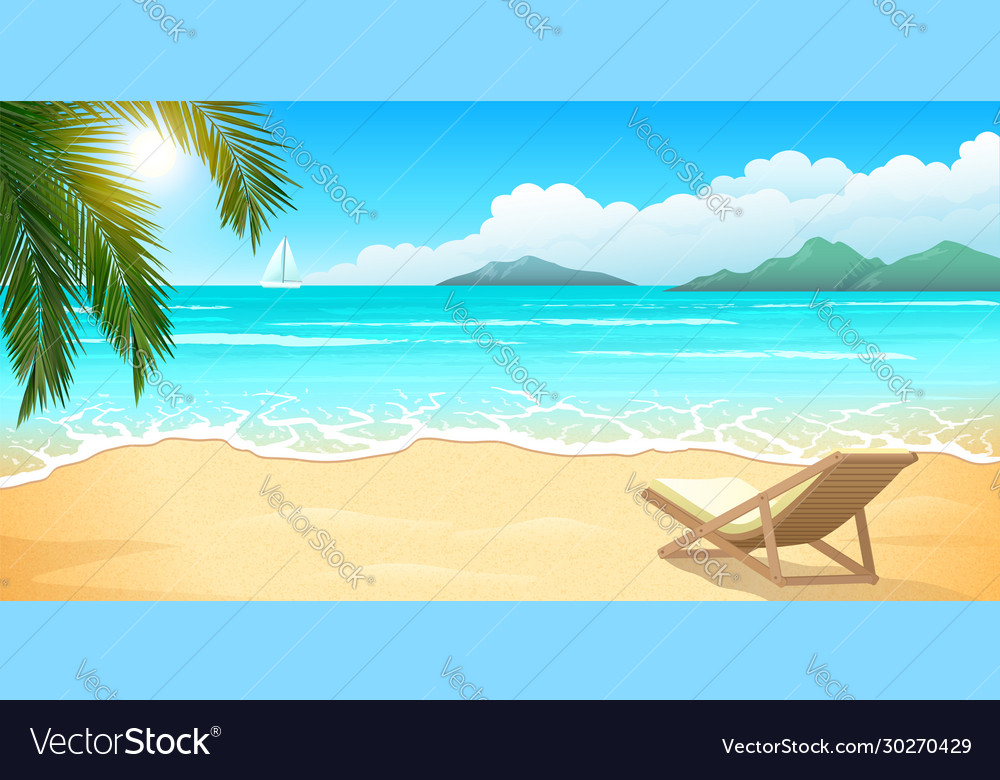 Sand beach with palm and chaise lounge clear blue