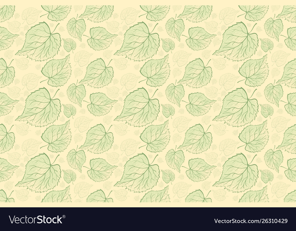 Seamless pattern fern different tree foliage