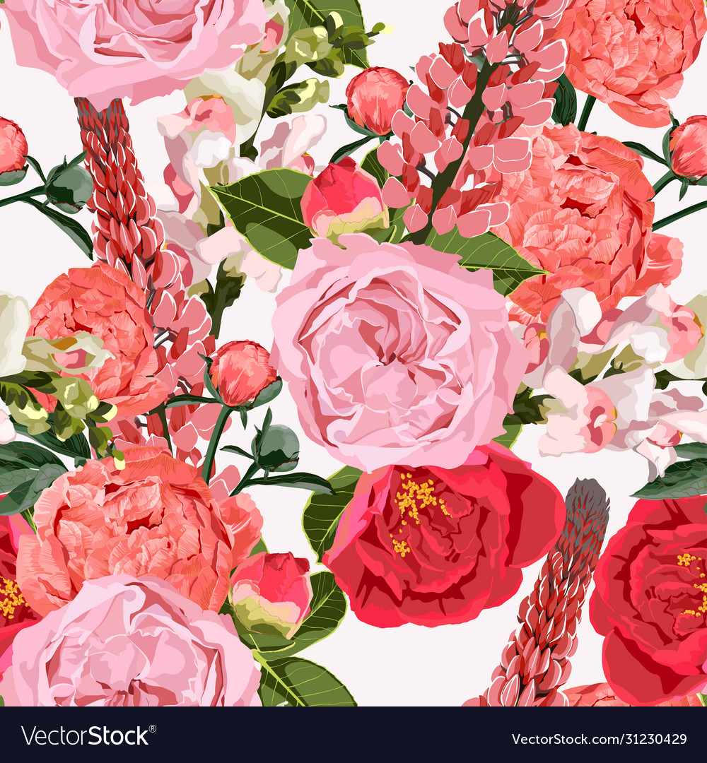 Seamless pattern roses flowers with peony