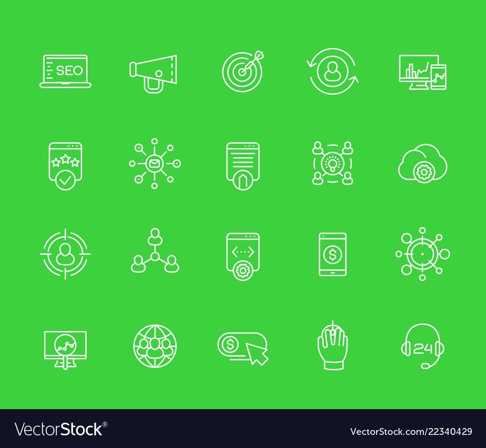Seo internet marketing website analysis icons