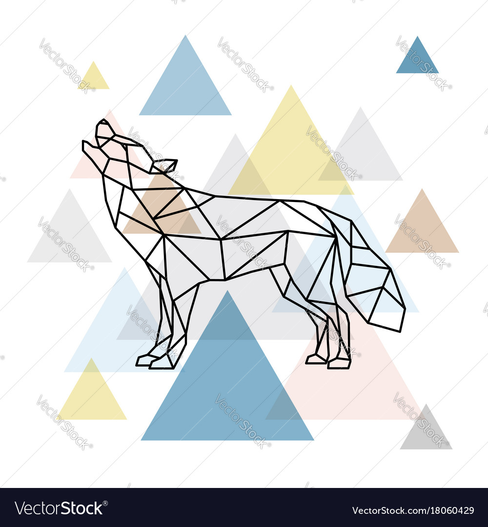 Silhouette of a geometric wolf side view