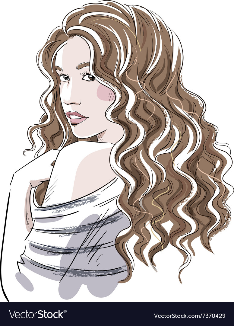 Sketch of a beautiful girl with curly hair