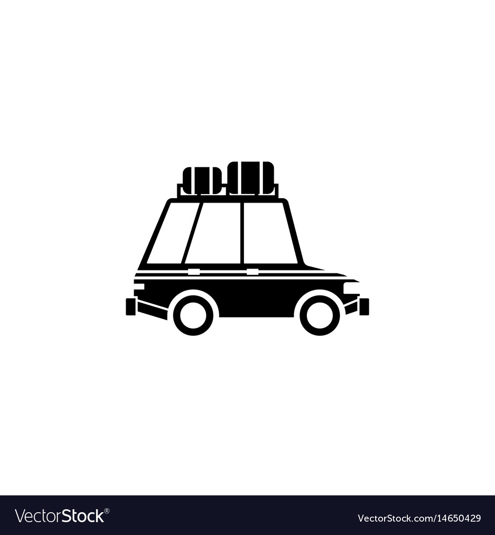 Travel car solid icon travel tourism vector image
