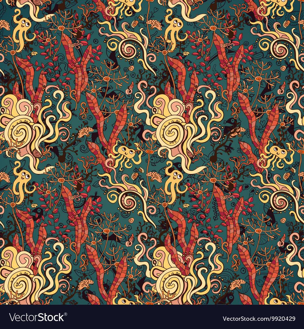 Underwater seaweed seamless pattern background