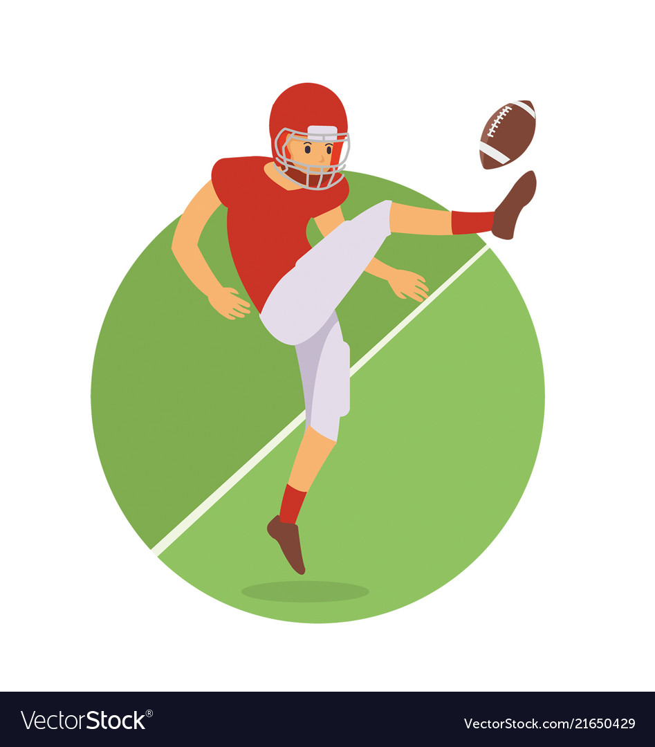 Young player kick the ball in american football