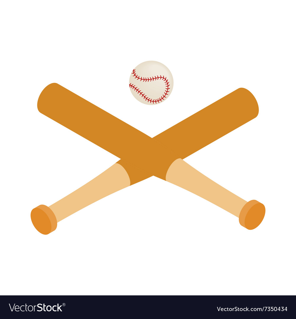 Baseball bats and baseball isometric 3d icon