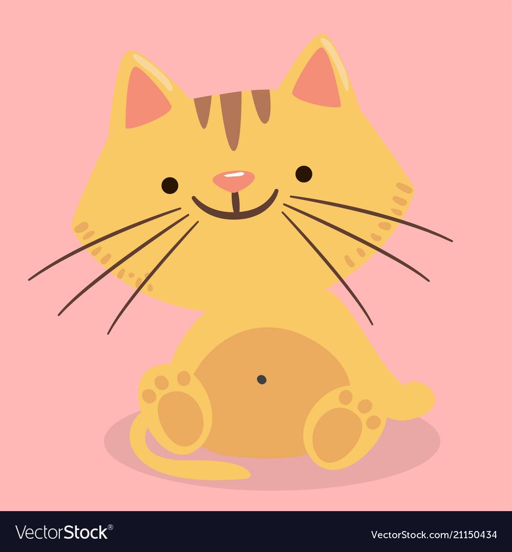 Cartoon cat smile pink background image