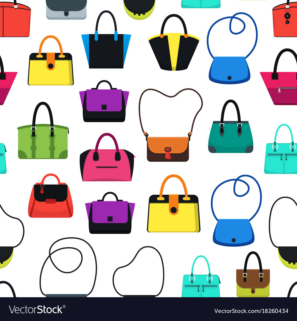 Cartoon handbag or female bags background pattern Vector Image 34bd2935b7