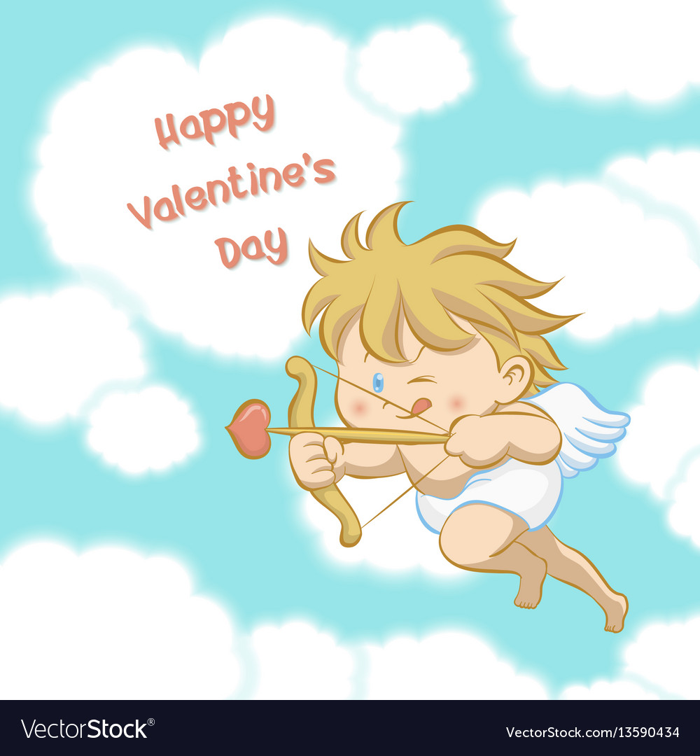 Cupid aiming with bow and arrow