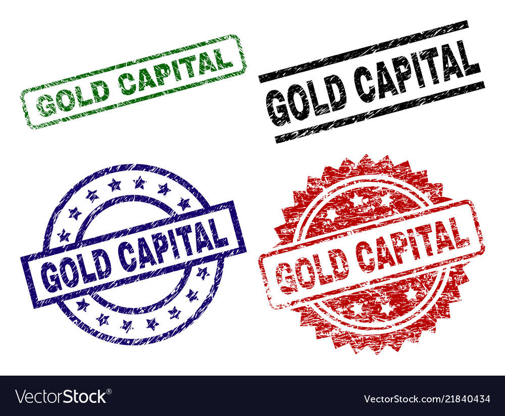 Damaged Textured Gold Capital Stamp Seals Vector Image