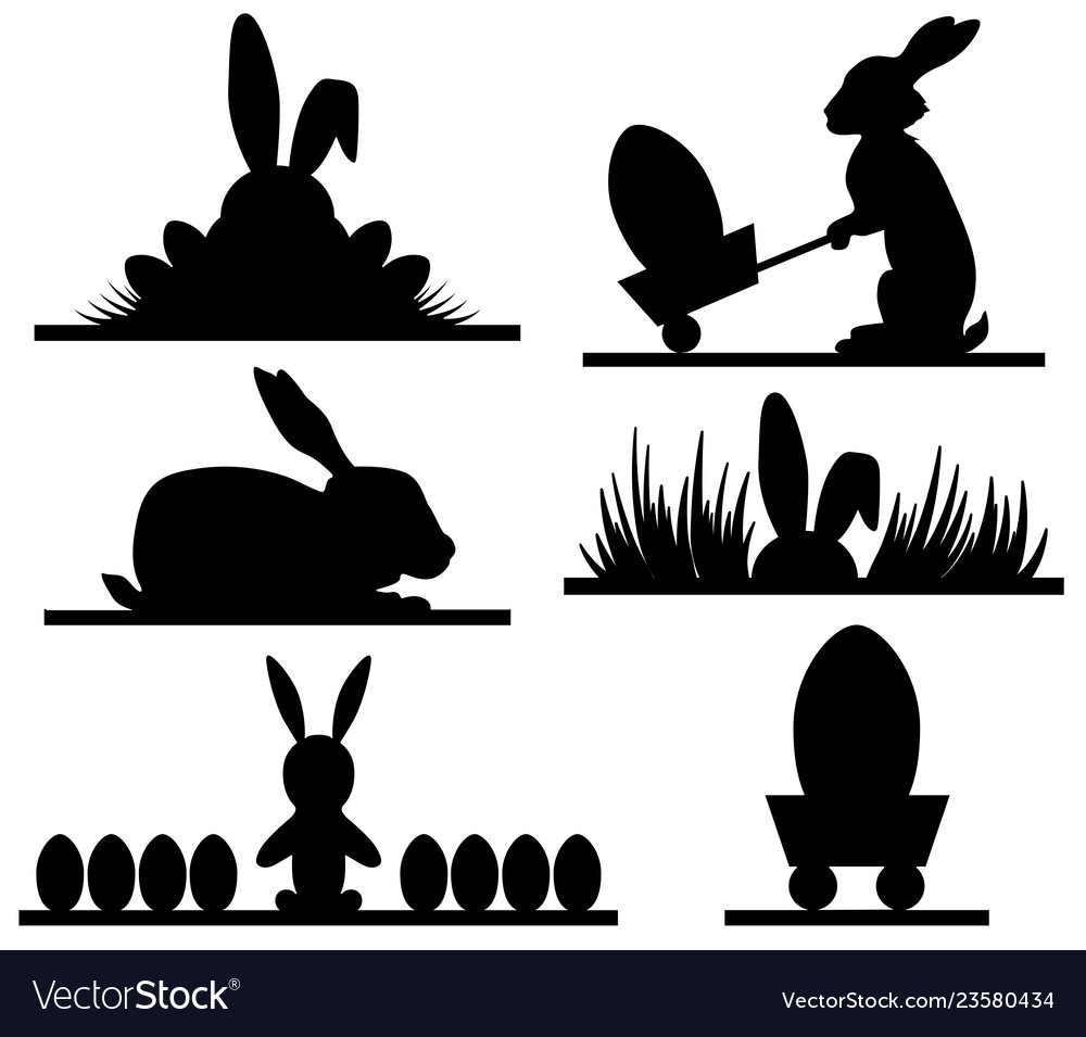 Easter silhouettes design with banny and eggs