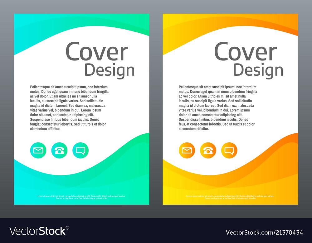 Flyer design bright gradient waves on white