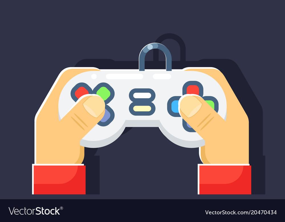 Game console retro games player hands joystick
