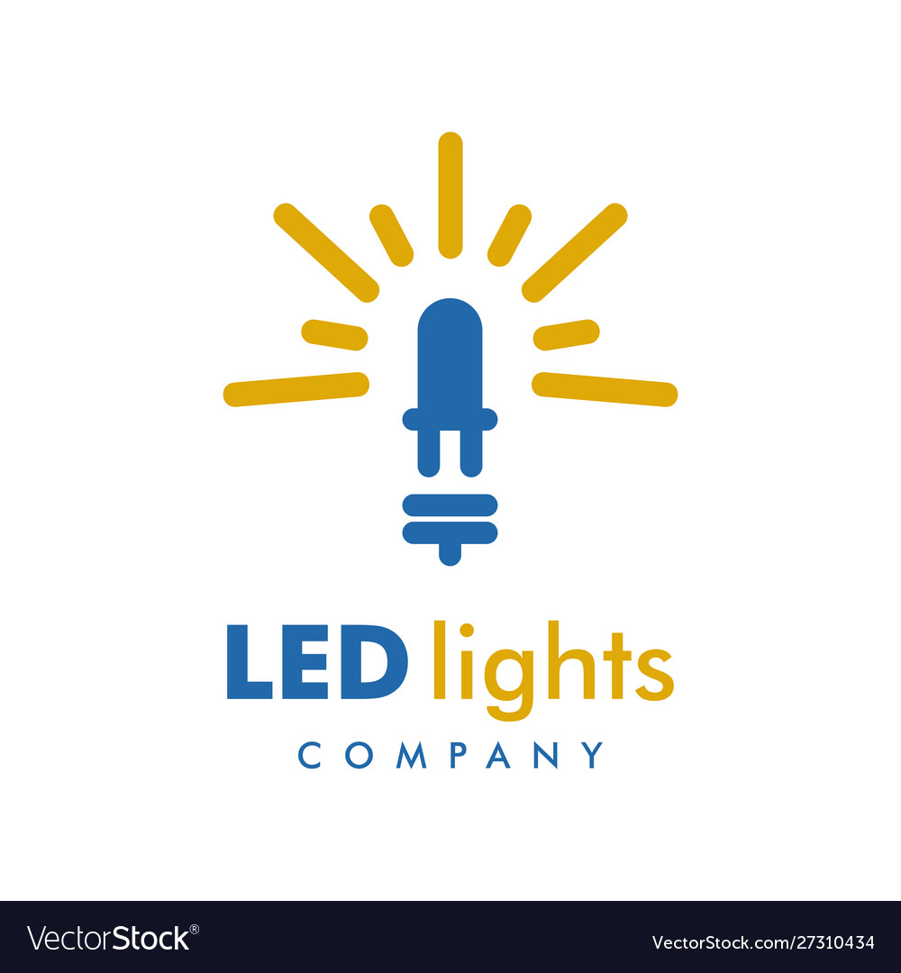 Led Light Logo Design Template Royalty Free Vector Image