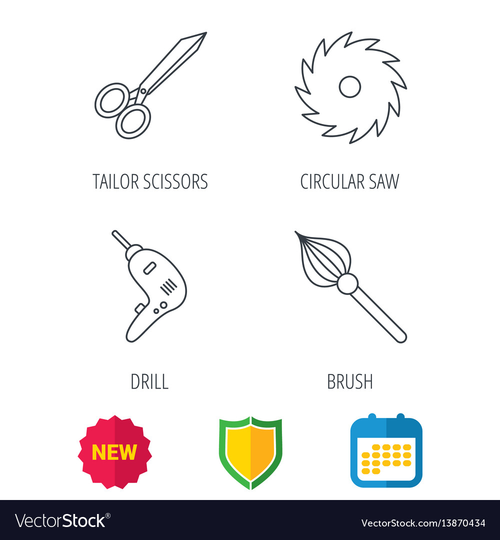 Scissors drill and repair tools icons