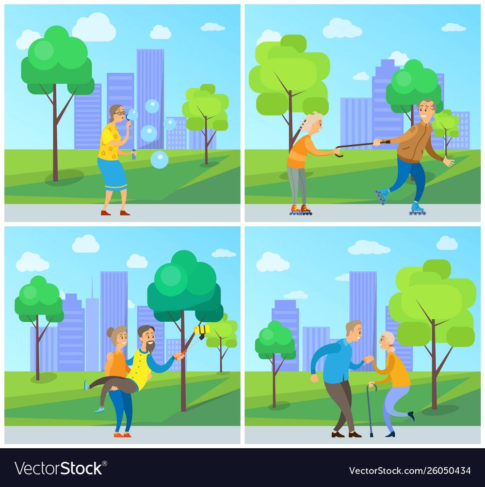 Smiling pensioners walking in urban park