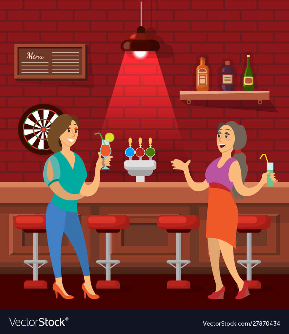 Woman friends talking in bar drinking cocktails