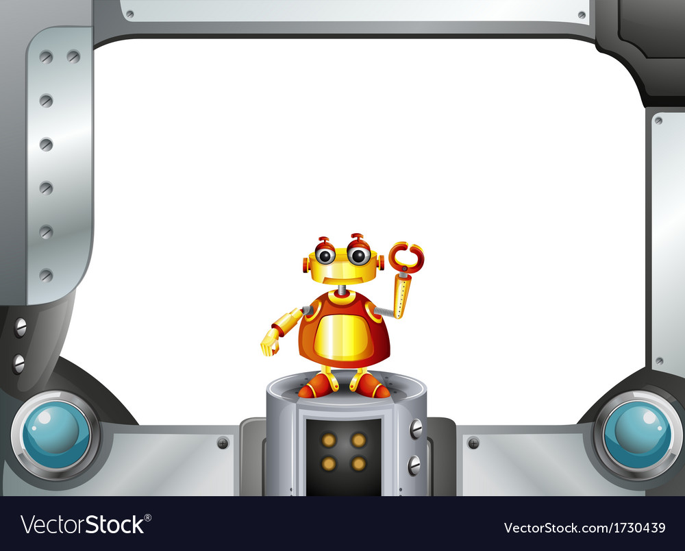 A colorful robot in the middle of the empty frame vector image