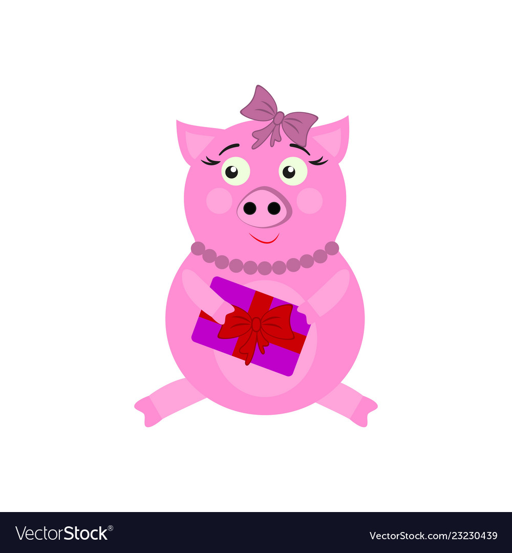 A pig with present new year icons in color