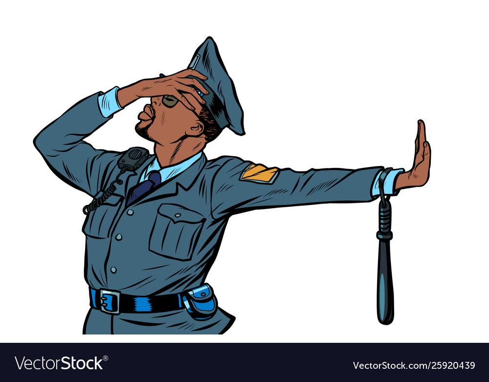African police officer gesture denial shame