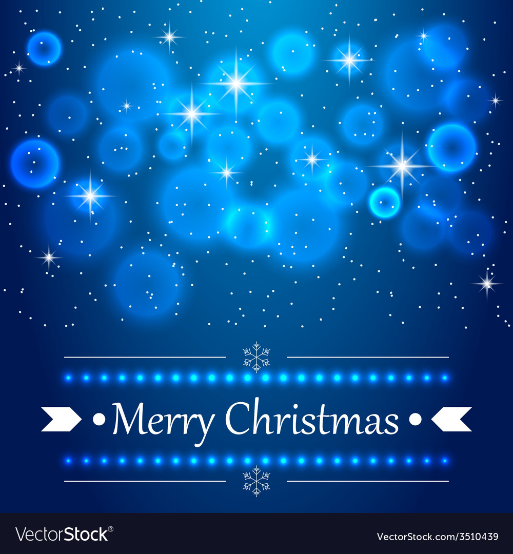 Blue Christmas background with flares on the sky vector image