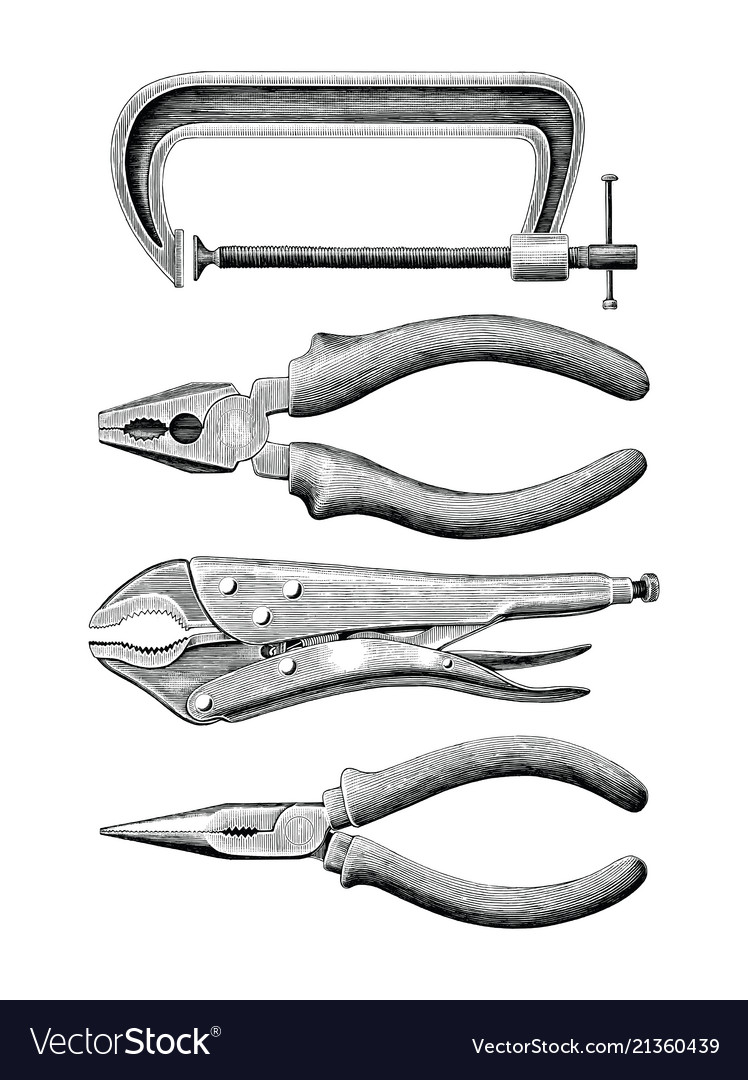 Clamp set hand drawing vintage clip art isolated