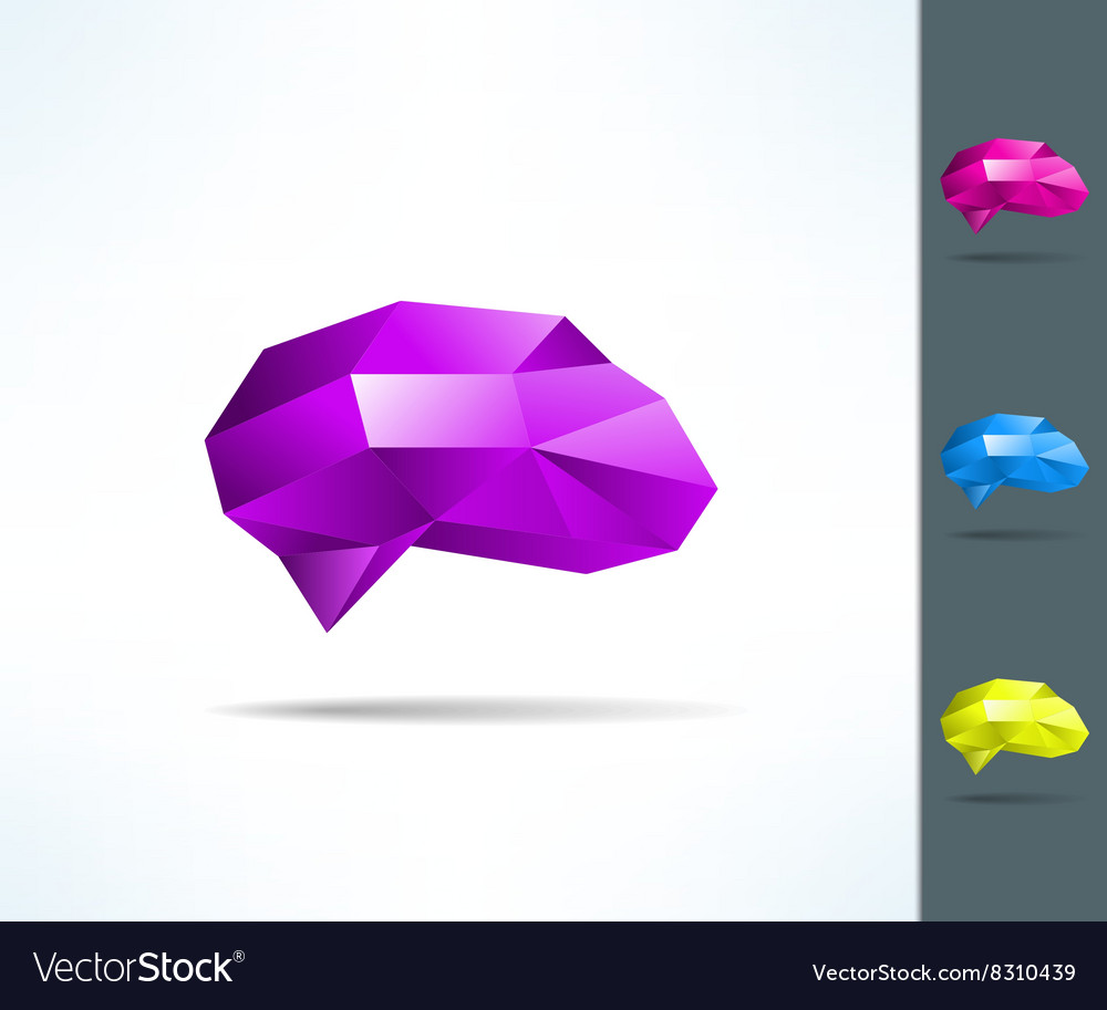 Creative brain in low poly geometrical design