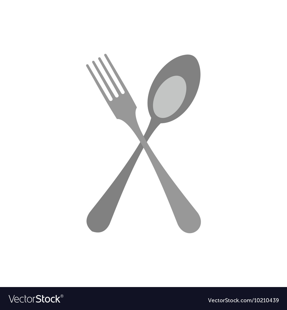 Crossed fork and spoon icon flat style vector image