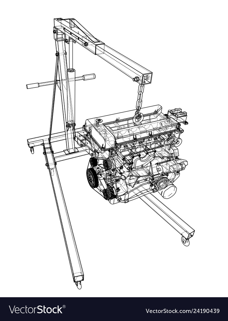 Engine hoist with engine outline Royalty Free Vector ImageVectorStock
