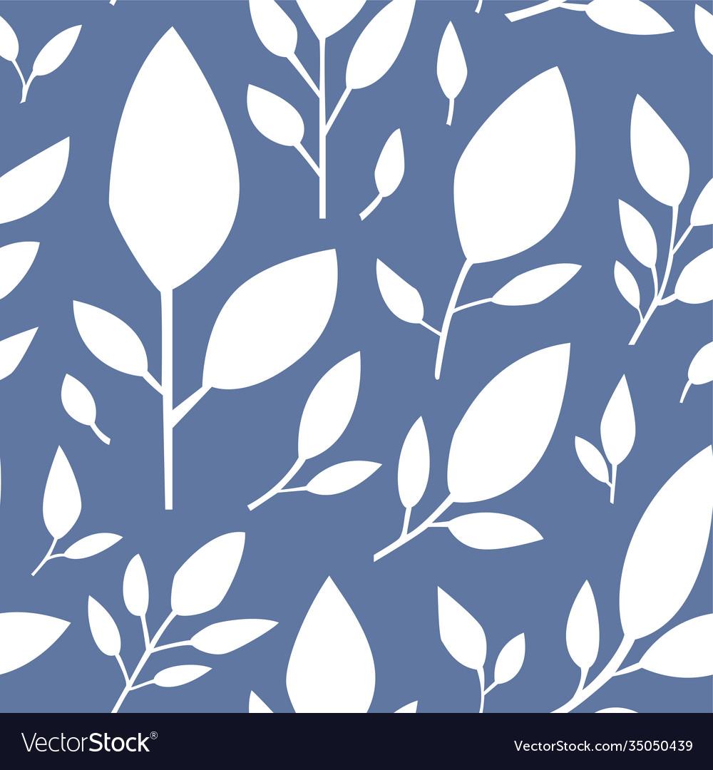 Floral seamless pattern on blue leaf flourishing