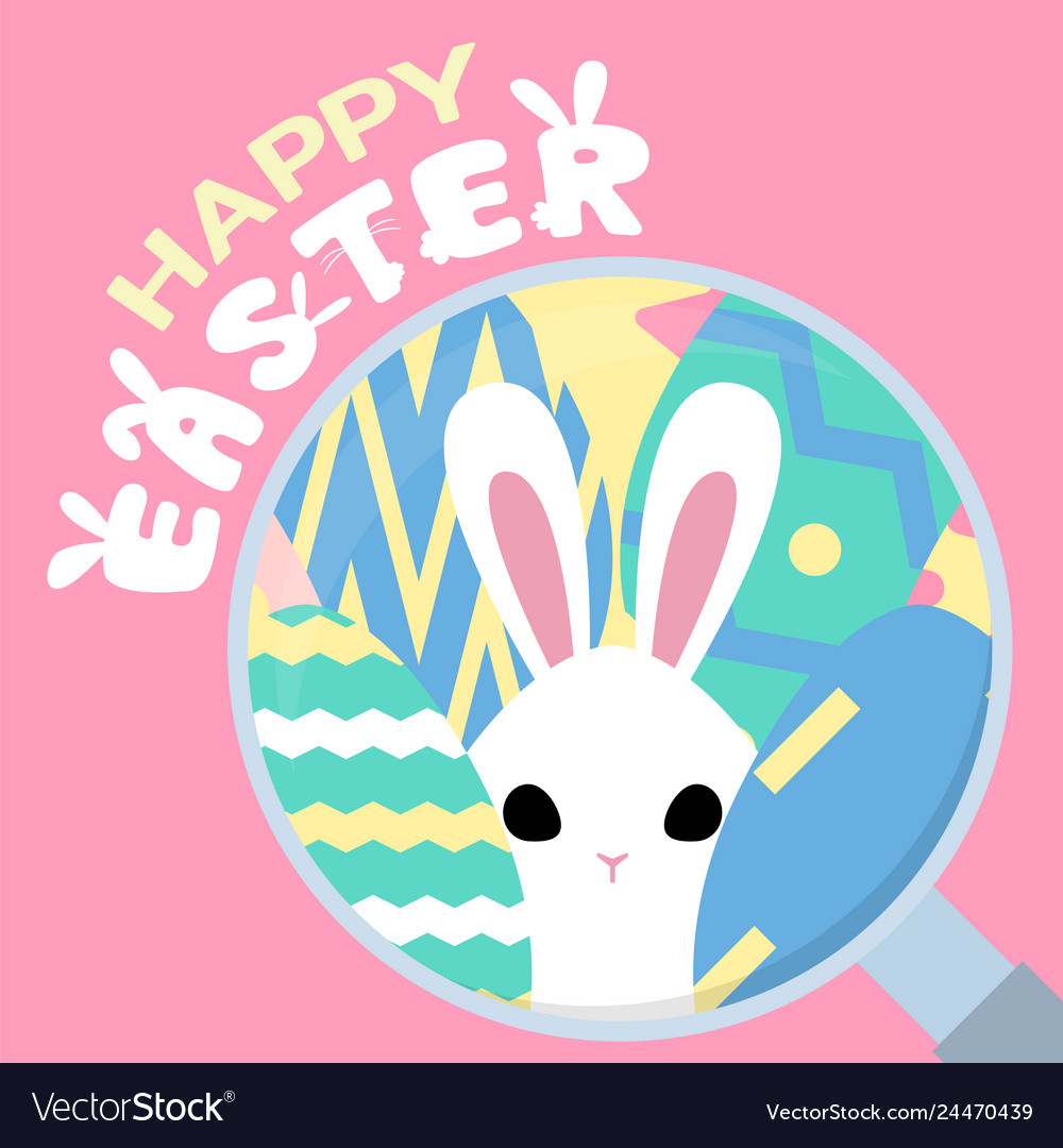 Happy easter greeting background with easter bunny