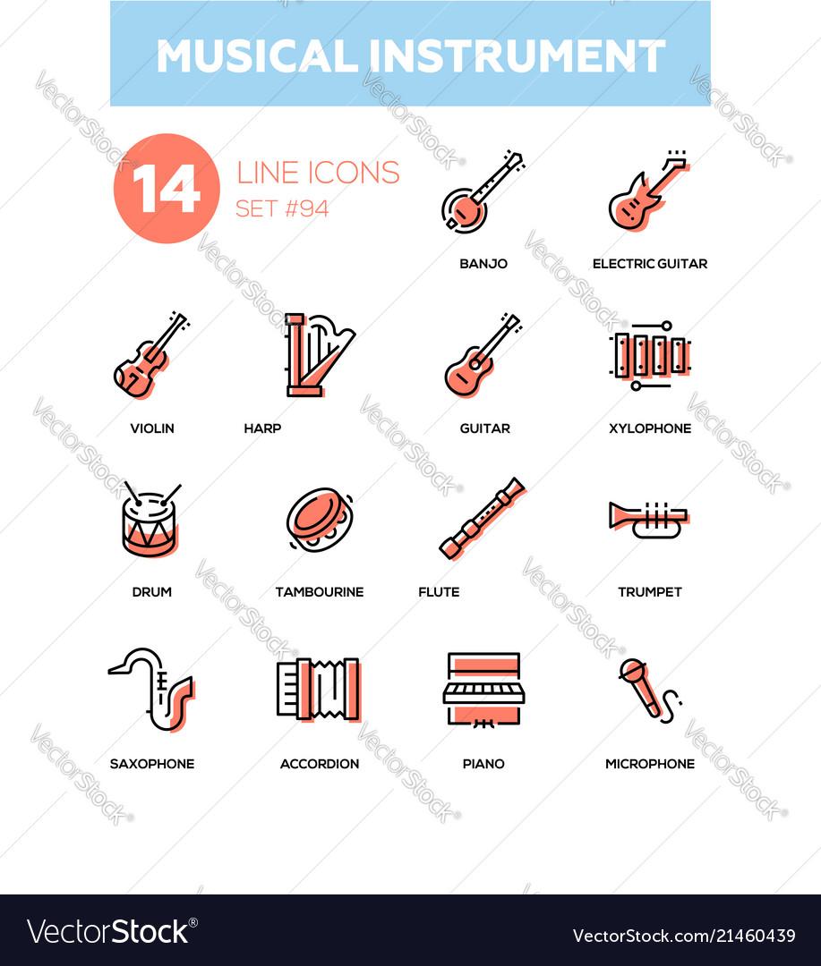 Musical instruments - modern line design icons set