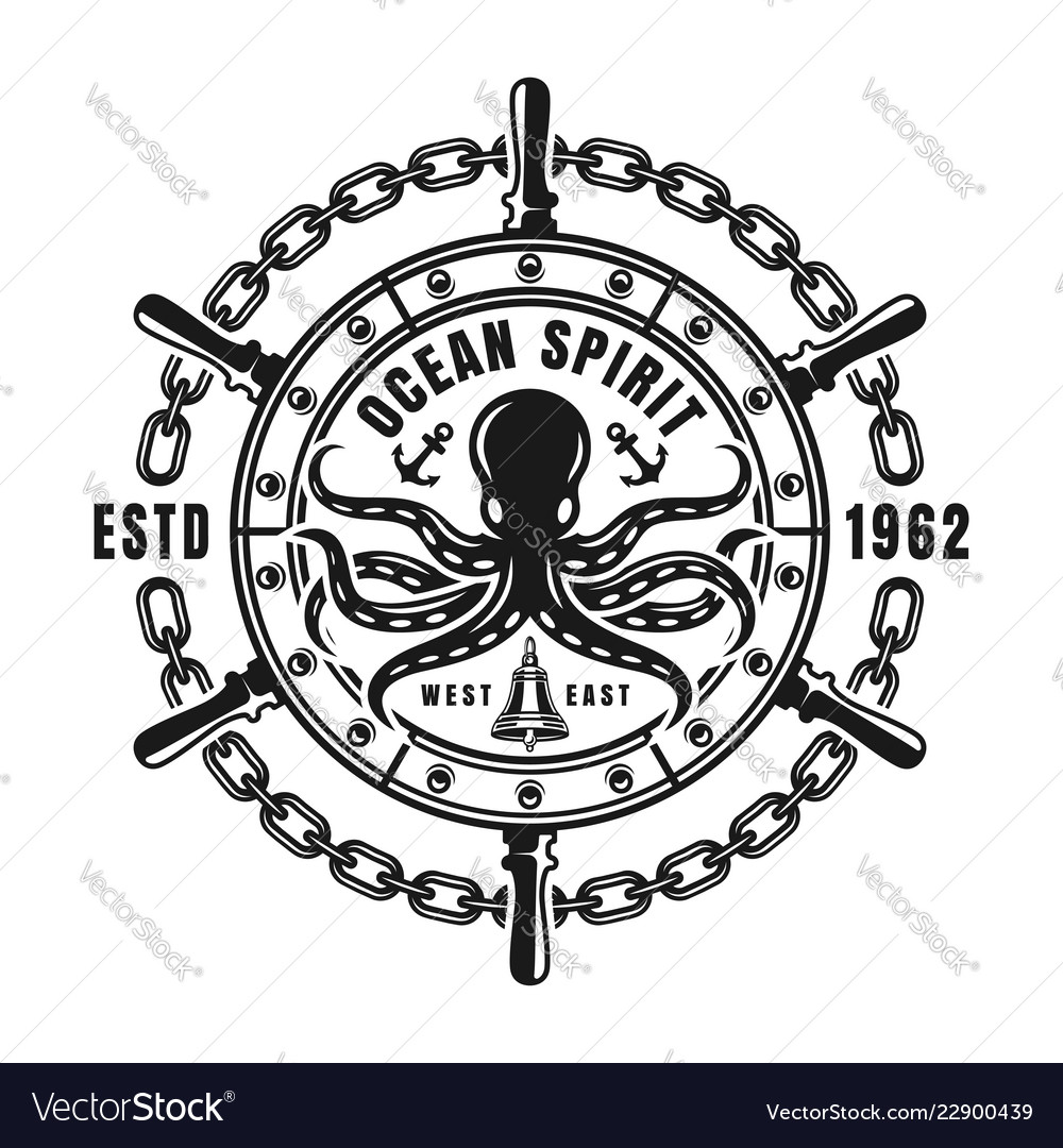 Nautical emblem with steering wheel and octopus