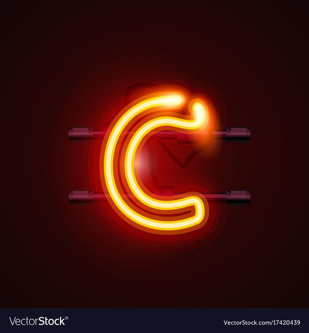 Neon font letter c art design singboard Royalty Free Vector
