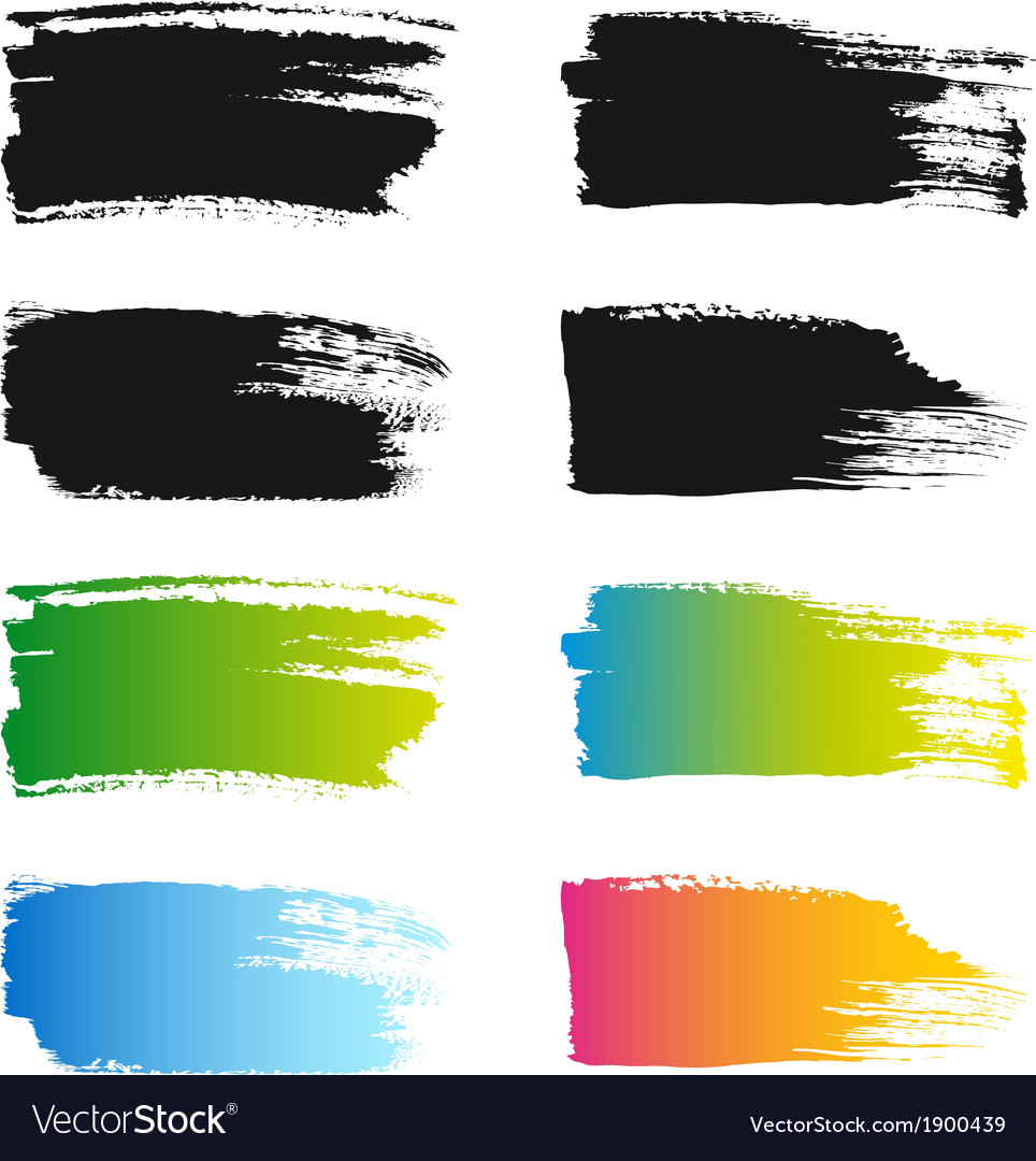 Paint brush stroke frames set vector image