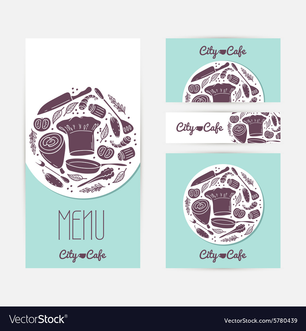 Set of identify cards templates with doodle food Vector Image