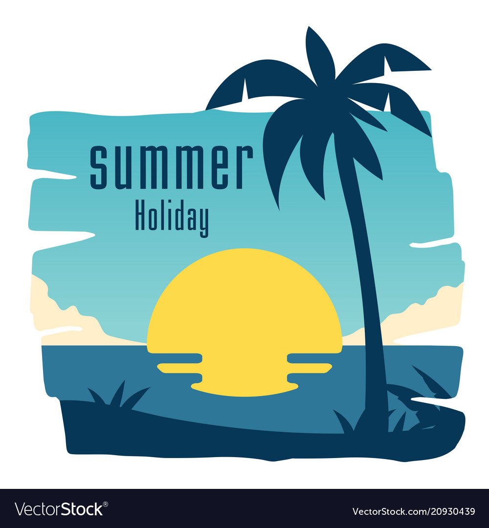 Summer holiday coconut tree sunset blue sky backgr