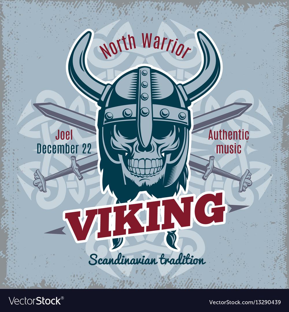 Vintage Viking Poster Royalty Free Vector Image