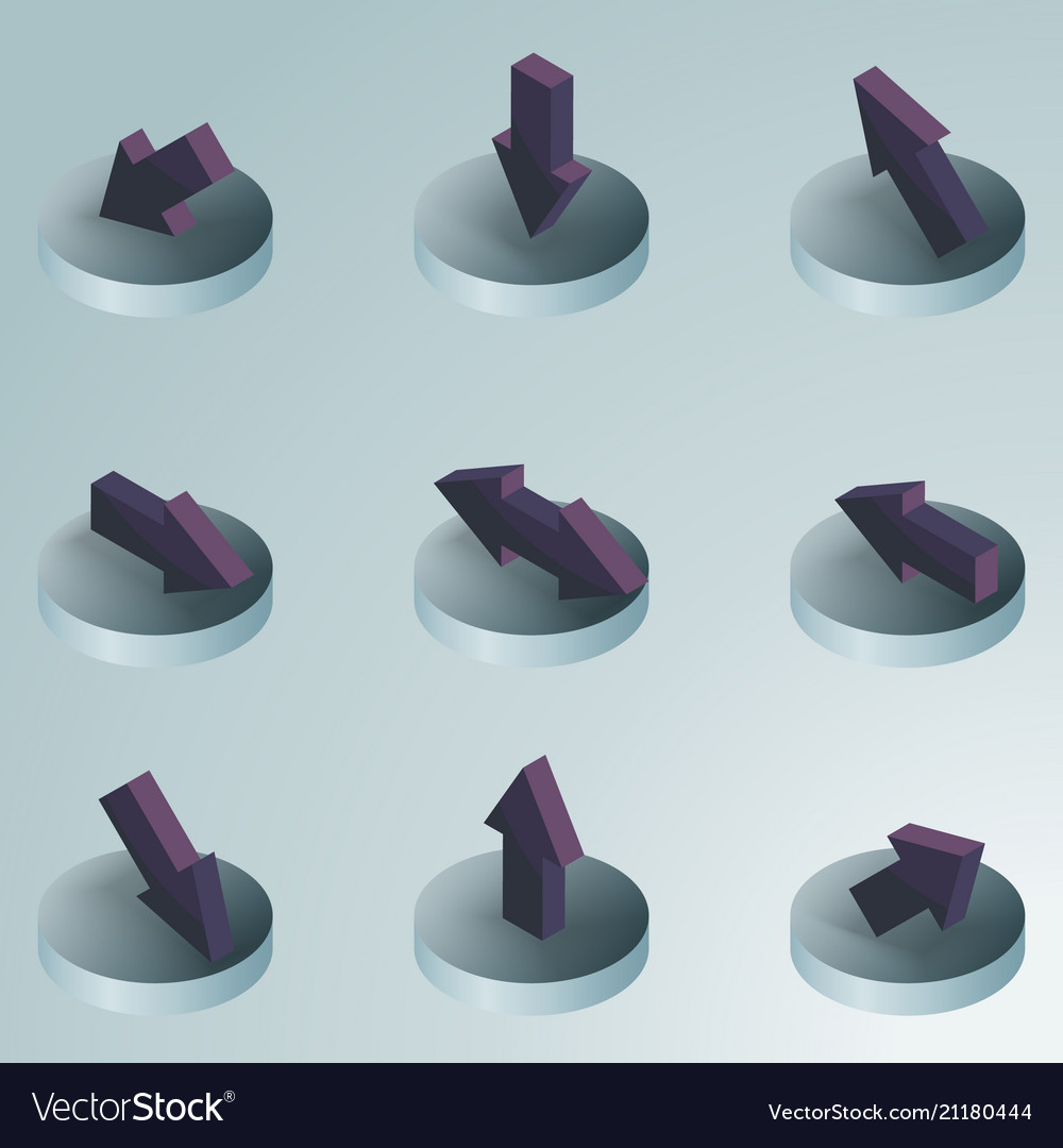 Arrows color isometric icons