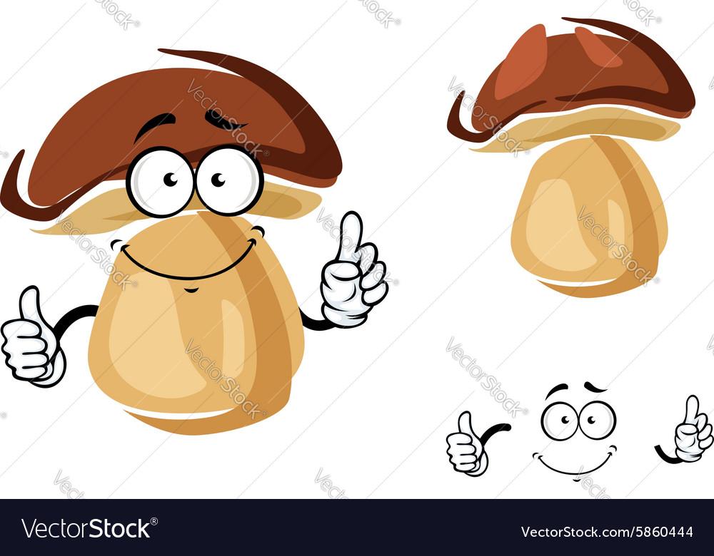 Cheerful smiling cartoon porcini mushroom
