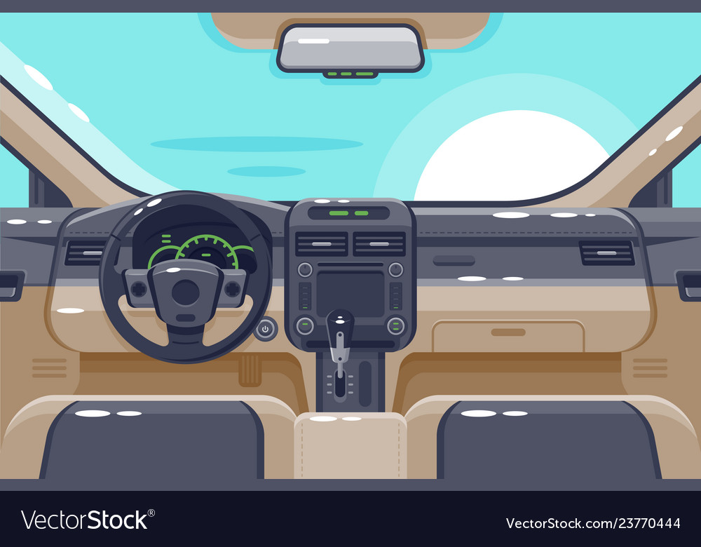 Flat insides of car interior with transmission