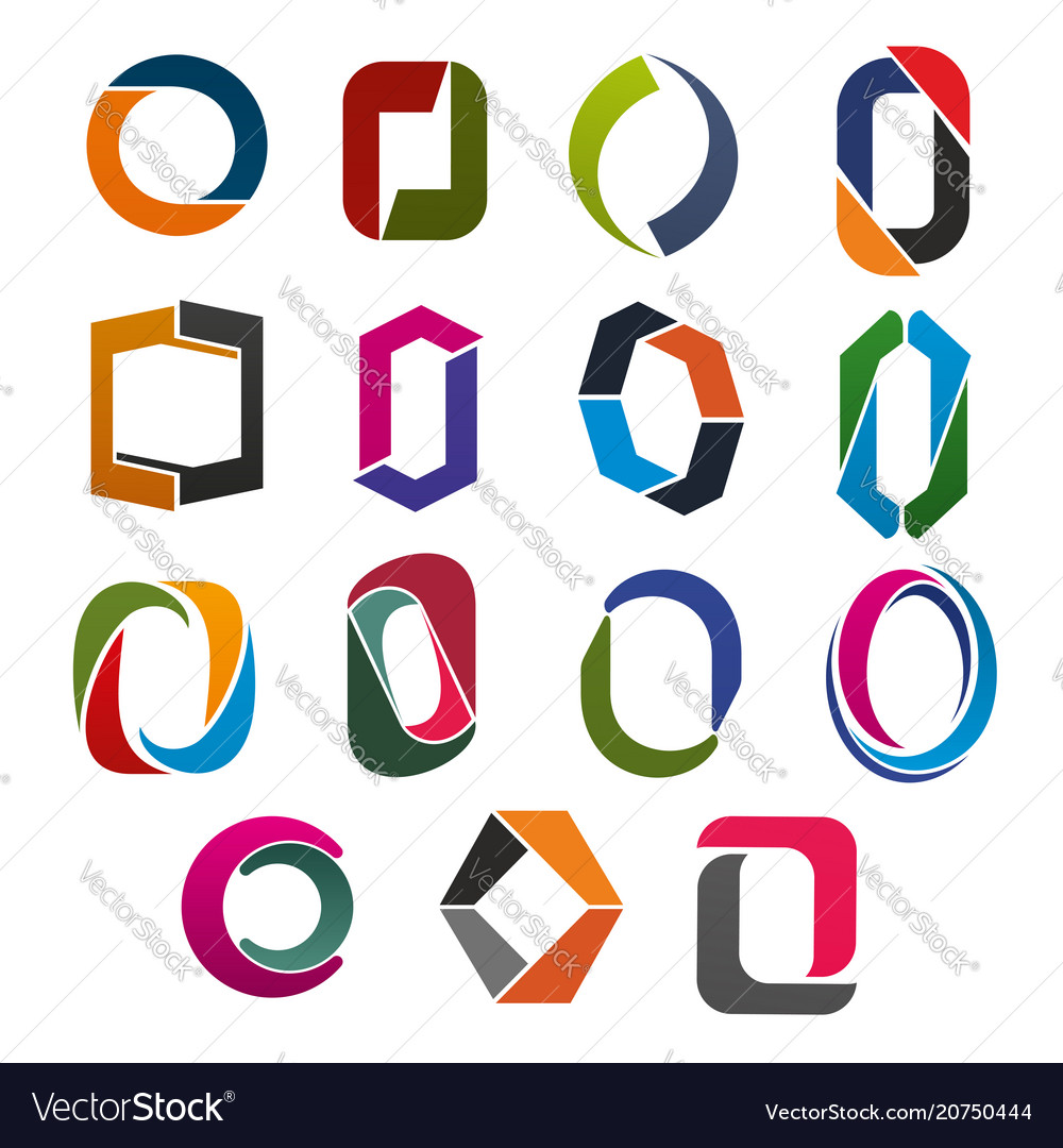 O letter icon of abstract corporate identity font vector image