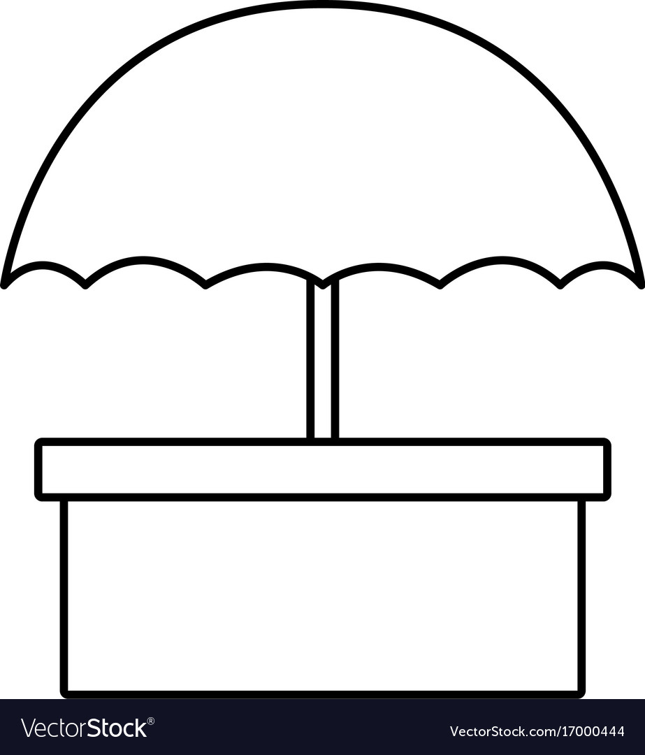 Packaging box icon with umbrella symbol shipping