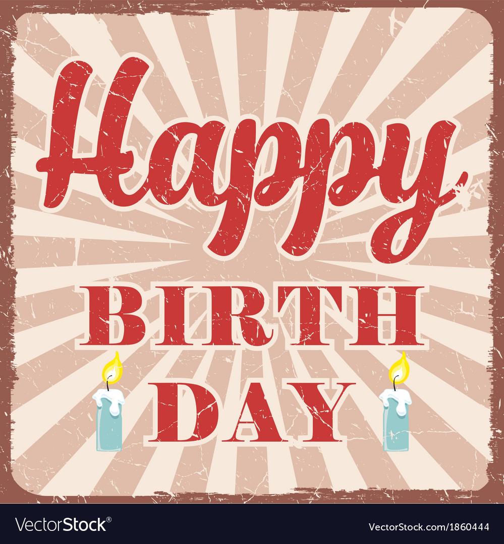 Retro Birthday Greeting Card Royalty Free Vector Image