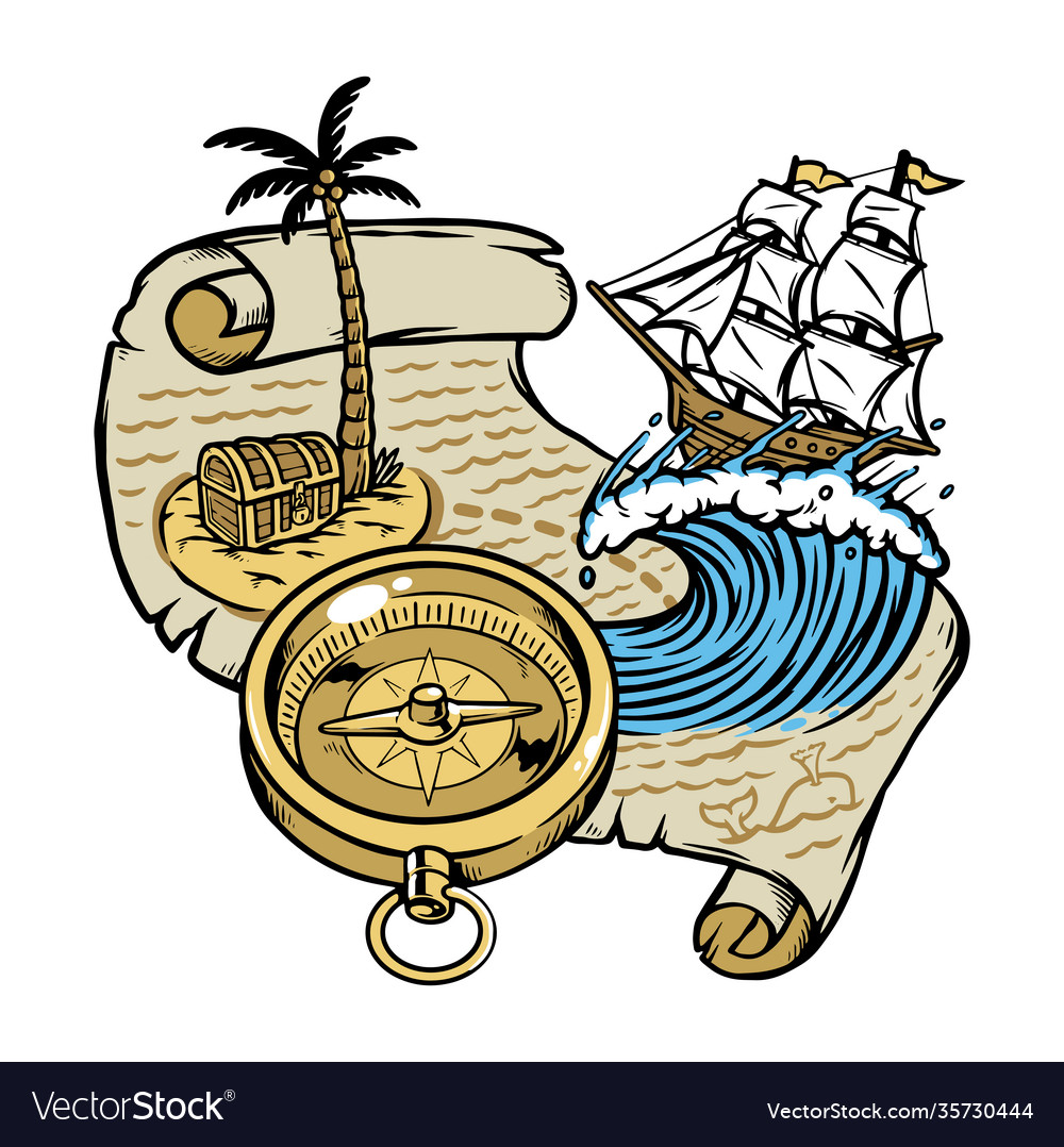 Sail following treasure map