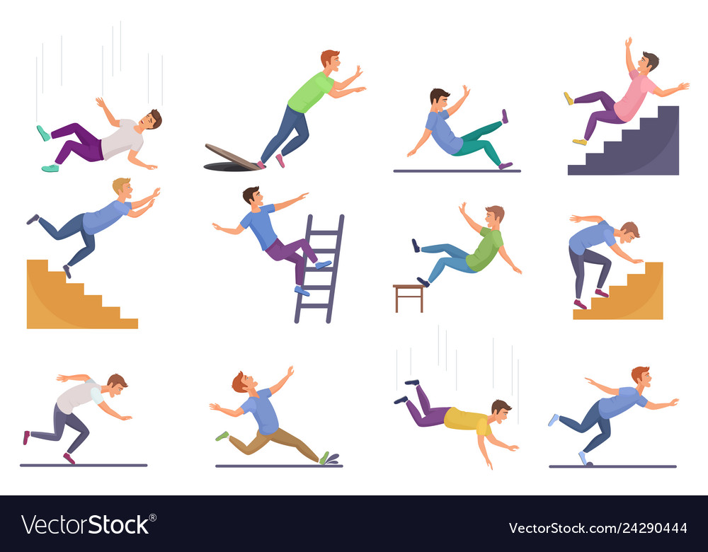 Set of falling man isolated falling from chair